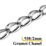 CADENA CHANNEL 2MM. LARGO 1.15MTS.NIQ.